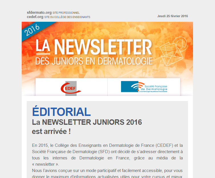 Aperçu de la newsletter junior 2016